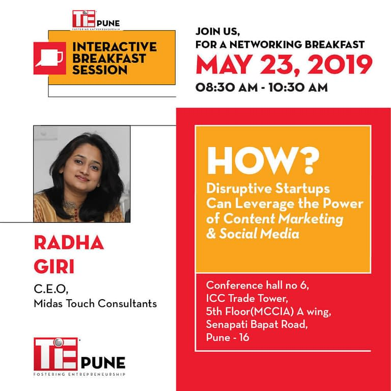 Radha Giri at TiE Pune Interactive Breakfast Session